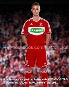 Middlesbrough home kit 2012 2013