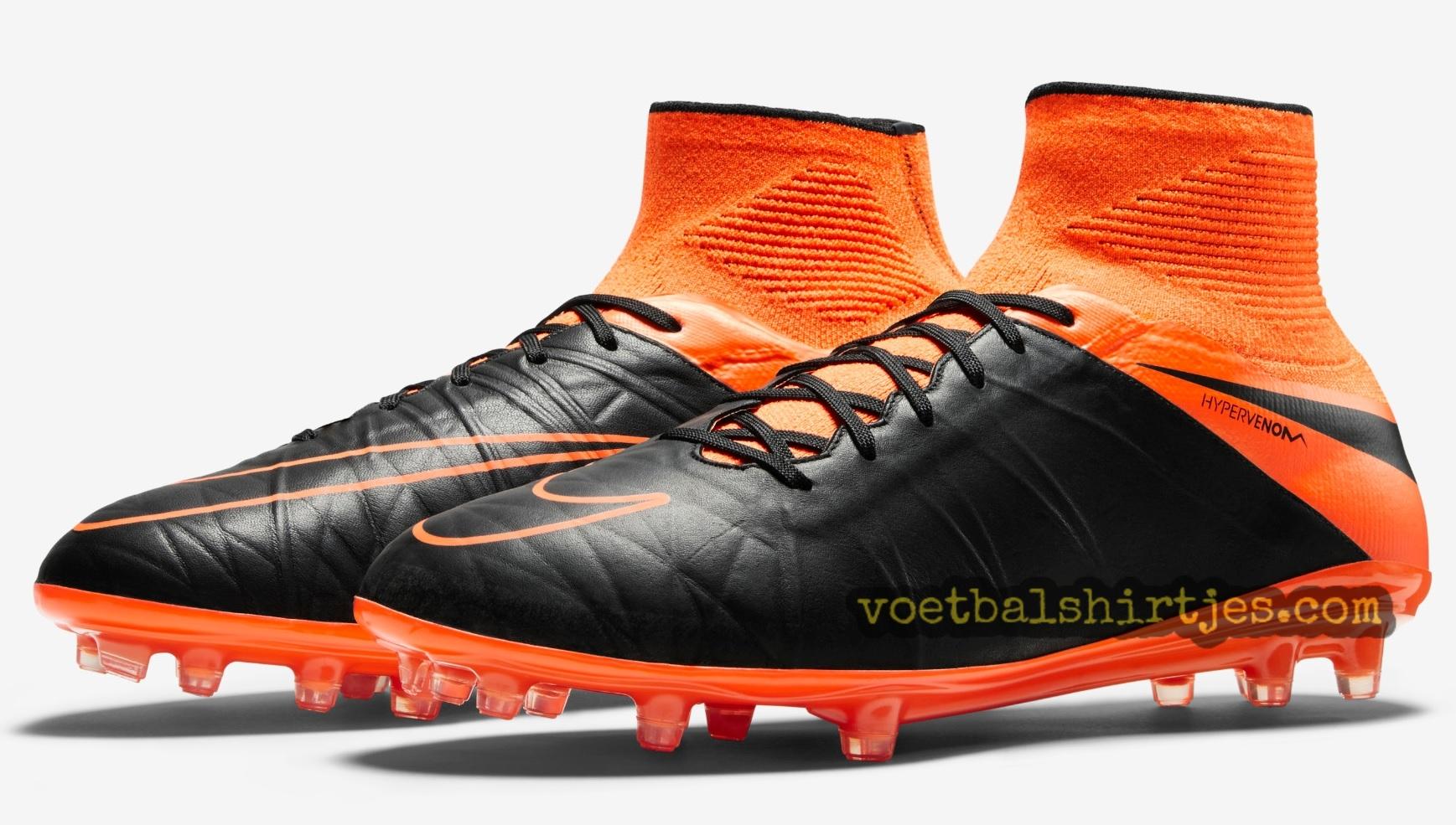 hot sale online d9d25 abaa6 Nike Hypervenom 2 Leather Black - Total Orange